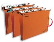 Boîte de 25 dossiers suspendus VMG pour tiroir en kraft orange 240g fond 15, bouton-pression - Esselte