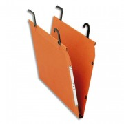 Boîte de 25 dossiers TMG, suspension sur tube, kraft orange 240g fond V, bouton-pression - Esselte