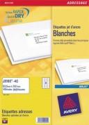 Boîte de 400 étiquettes adresses jet d encre 99,1x33,9mm blanches J8162-25 - Avery