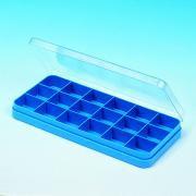 Boite en plastique à séparations - Dimensions (L x l x H)  : 211 x 110 x 20 mm - Matière : Polypropylène