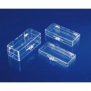 Boîtes de présentation à charnières -  Dimensions: 61 x 54 x H35 mm - Matière : Polystyrène cristal