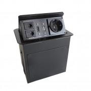 Boîtier de table encastrable avec connectique intégrée - 2xRJ45, USB 2.0, HDMI, Prise 220V/ Coloris noir ou gris.