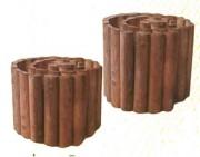 Bordure de jardin en Pin demi-rondins - Dimensions : Diamètre : 7 cm -  Hauteur : 40 cm -  Longueur : 2 m 50