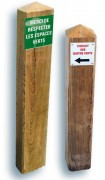 Borne d'information en bois à sceller - Sections : 120 x 120, 145 x 145 ou 95 x 195 mm