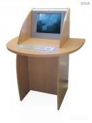 Borne de consultation pour cyber-café - Poirier naturel standard - Dimensions (Largeur x Profondeur x Hauteur): 638 mm x 500 mm x 1400 mm