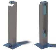 Borne distributrice de gel hydro en inox - Matière : Inox brossé - Fixation : à poser ou cheviller - Poids : 11 kg