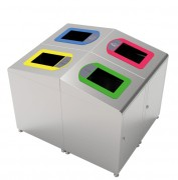 Borne Poubelle modulaire - Capacité (L) : 60 – Inox - Dimensions (LxPxH) en mm :  400 x 485 x 760