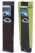Borne recharge véhicule électrique public - Dimensions (H x L x P) : 1180 x 250 x 120 mm - Nombre socles de tableau : 2