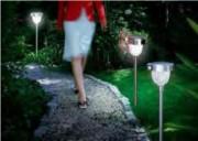 Borne solaire extérieure - Flux lumineux : 2.2 lm lampe d'appoint et 83.5 lm sur détection