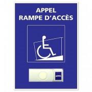 Bouton de sonnette PMR a image fauteuil roulant - Dimensions du panneau 150 x 210 x 1.5 mm