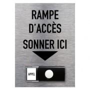Bouton de sonnette PMR appel rampe accès en aluminium - Dimensions panneau : 150 x 210 mm
