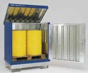 Box de stockage acier pour fûts avec rétention - Capacité de charge : 500 Kg