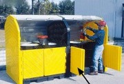 Box de stockage extensible pour 4 fûts - Capacité de rétention : 284 Litres