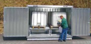 Box de stockage extérieur à bac de rétention - Dim. ext. : 3005x1800x2350 mm - Dim. int. : 2920x1620x2000 mm