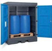 Box de stockage extérieur fût 2 x 200 litres - Box avec bac de rétention intégré, porte à 2 battants