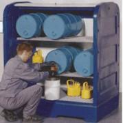 Box de stockage fût à volet roulant - Stockage de 4 fûts de 60 litres couchés