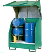 Box de stockage pour 2 fûts avec support de fûts couchés - avec support de fût 60 L