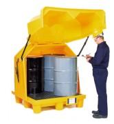 Box de stockage pour 4 fûts en PEHD - Dimensions : 1450x1370x1690 mm