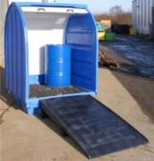 Box de stockage pour fûts en polyéthylène - Dimensions : 1470 x 1420 x H 2070 mm  - Volume rétention 410L