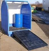 Box en polyéthylène pour fûts - Volume rétention de 410L