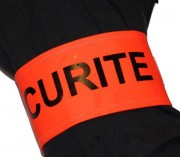 Brassard sécurité orange fluorescent - Pour agent de sécurité - Fermeture par élastique