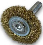 Brosse circulaire sur tige 1 rang - Fil laiton 0.20/mèche torsadée 0.40/Nylon abrasif grain 80