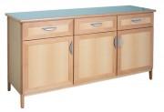 Buffet 3 portes - 3 tiroirs - Dimensions (HxLxP) : 890 x 1680 x 545 mm  - En hêtre