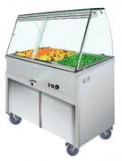 Buffet bain-marie chauffant 4 ou 5 bacs - Chauffant : 0°+90°C - 4 ou 5 bacs GN 1/1 par placard neutre