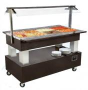 Buffet chauffant mobile avec vidange - Capacité : 4 bacs GN1/1 - 6 bacs GN1/1 - Température : +20 + 90 °C