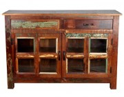 Buffet en bois tropical recyclé - Dimensions : 120 x 40 x 80 cm
