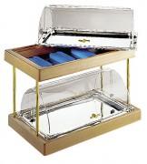 Buffet froid 2 niveaux - Dimensions (L x P x H) : 60 x 36 x 38 cm - bois et inox