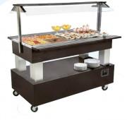 Buffet réfrigéré & chauffant Gastronorm - 4 ou 6 bacs GN 1/1 - Version bacs réfrigéré et chauffant - Puissance : 2250 ou 3000 W