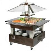 Buffet réfrigéré mobile 4 bacs - Froid positif +2 +10°C  - 4 bacs GN1/1 - Puissance : 500 W