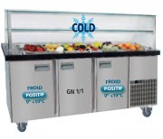 Buffet saladette réfrigéré 2 portes - Froid positif 0° +10°C - 2 ou 3 portes GN 1/1