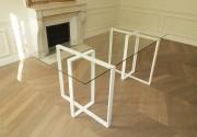 Bureau à plateau en verre trempé - Dimensions : hauteur 74 cm x largeur 81 cm x longueur 180 cm