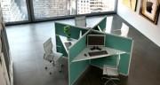 Bureau centre d'appel - Dimensions plan de travail (L x P x H) : 154 x 61 x 7.8 cm