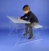 Bureau d'écolier plexi 70 x 45 cm - Dimensions : L x l : 70 x 45  cm - Hauteur : 65 cm