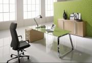 Bureau en verre design - Dimensions extérieures (L x P) : 218 x 90 cm