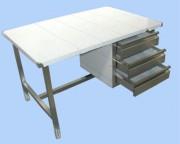 Bureau inox à 4 pieds vérins - Entièrement en inox 304 (ou inox 316 sur demande)