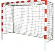 But de handball de compétition à sceller - En acier 80 mm x 80 mm plastifié rouge et blanc