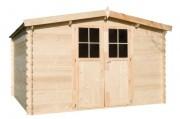 Cabane de jardin en bois 5.9m² - Dimensions extérieures hors tout (L x l x h) : 314 x 203 x 222 cm