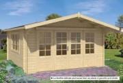 Cabane jardin en bois - Essence du bois : Sapin non traité - Dimensions : 440cm x 340cm + 90cm