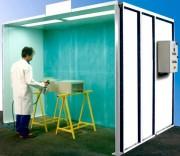 Cabine de peinture ouverte - Ventilation horizontale en dépression