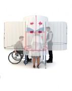 Cabine de vote homologuée - Isoloir en forme de cabine avec 4 postes de vote spacieux