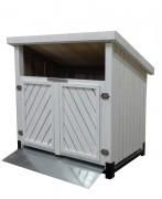 Cache conteneur bois à couvert - Cache conteneur abrité en bois peint