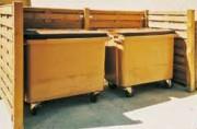 Cache conteneur double bois - Dimensions (L x l x H) : 2.91 x 1.18 x 1.44 m