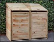 Cache conteneur double en bois - Dimensions : l140 cm x P85 cm x H135 cm