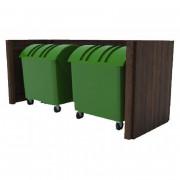 Cache conteneur double en bois dur - Dimensions : l150cm x P75cm x H135cm