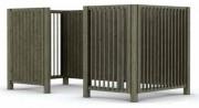 Cache conteneur en bois H 155 cm - Dimensions (L x H) : 103 x 155 - 156 x 155 cm