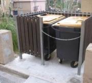 Cache conteneur poubelle plastique - Cache conteneur materiau recycle : plastique et acier